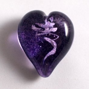 Pet Ashes into Glass Heart: Wisp Purple