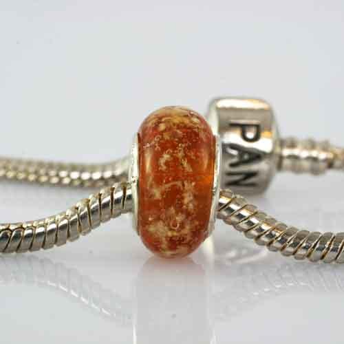 Pandora Style Charm Bead Amber