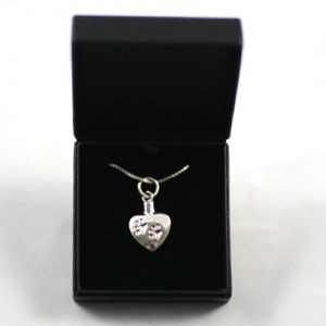Necklace for pet ashes: Silver Heart with Paw Prints