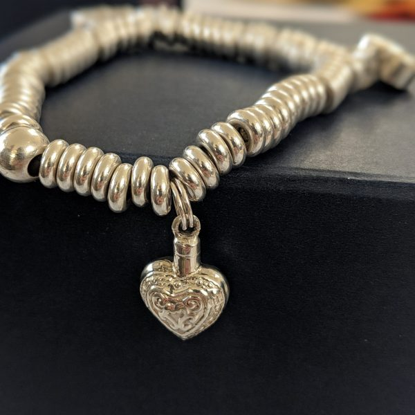 Pandora Heart Charm - Silver Engraved Heart for pet ashes