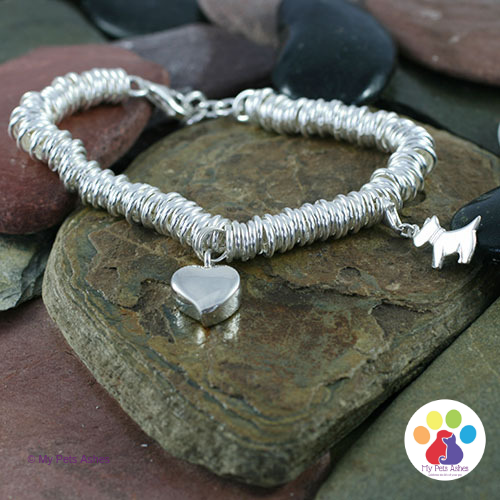 Silver Sweetie Bracelet with Heart & Dog Charm