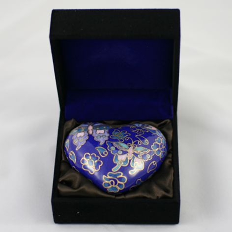 Pet Keepsake Cloisonne Heart Blue Butterfly