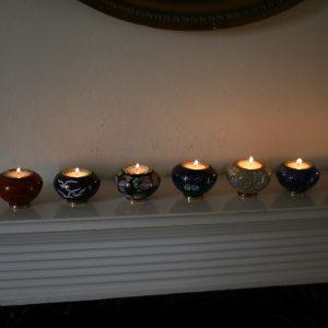 Pet Keepsake Cloisonné Heart Candleholders
