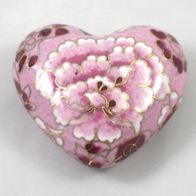 Pet Keepsake Cloisonné Hearts: Pink Bloom