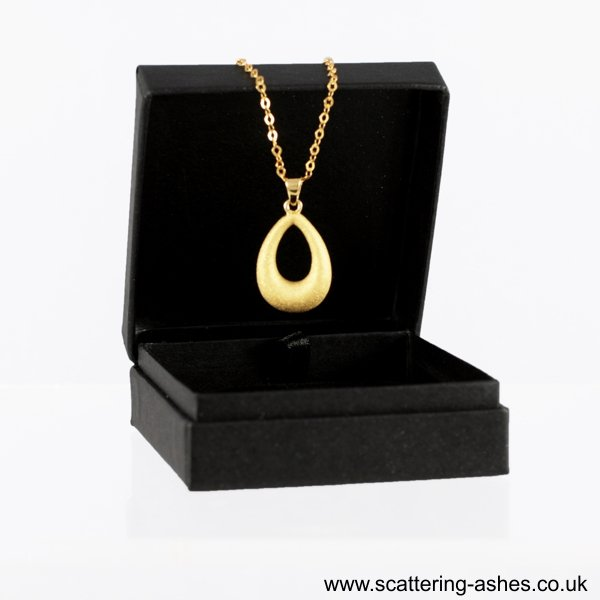 gold teardrop necklace pet ashes