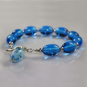 Bead Bracelet Aqua Flowers SQ