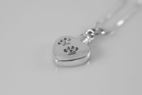 Silver Heart with Paw Prints