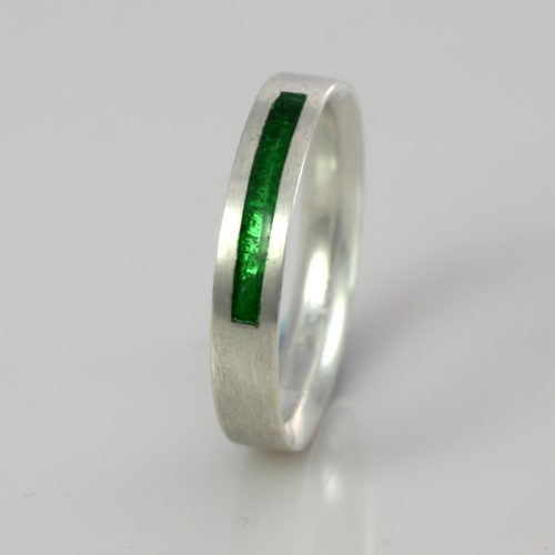 Wedding Band - Silver or Gold - Birthstone August Peridot