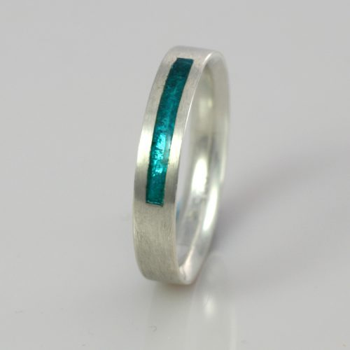 Wedding Band - Silver or Gold - Birthstone December Turquoise