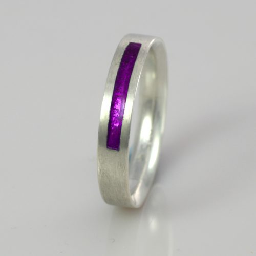 Wedding Band - Silver or Gold - Birthstone February Amethyst