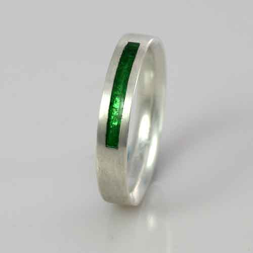 Wedding Band - Silver or Gold - Birthstone May Emerald