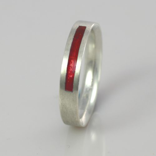 Wedding Band - Silver or Gold - Birthstone January Garnet