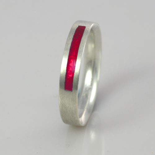 Wedding Band - Silver or Gold - Birthstone July Ruby