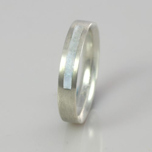 Wedding Band - Silver or Gold - Birthstone June Pearl