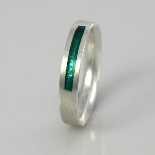 Wedding Band - Silver or Gold - Birthstone March Aquamarine