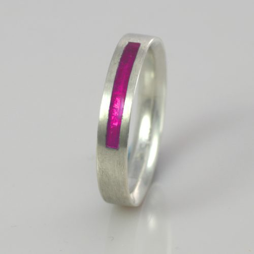 Wedding Band - Silver or Gold - Birthstone October Tourmaline