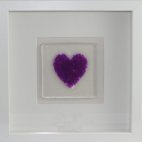 Framed Glass Heart - Purple