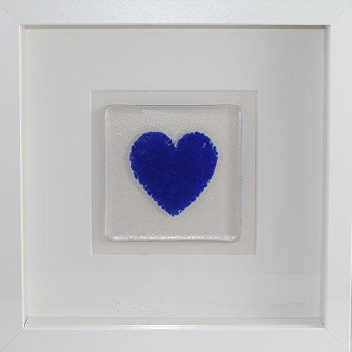 Framed Glass Heart - Blue