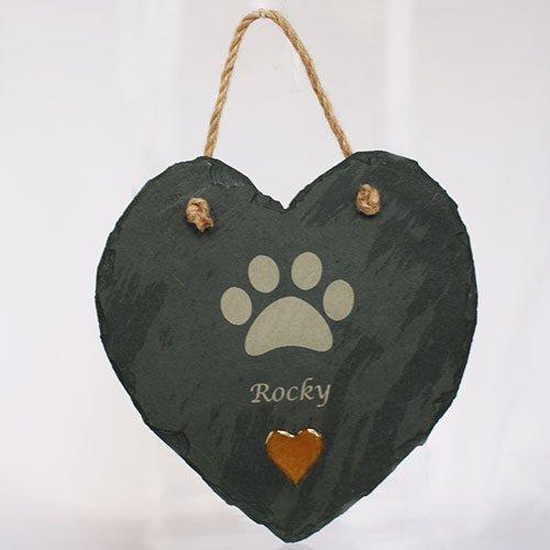 Paw Print Slate Heart
