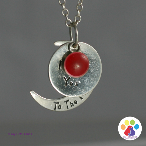 pet ashes necklace Silver Moon and Stars - Red