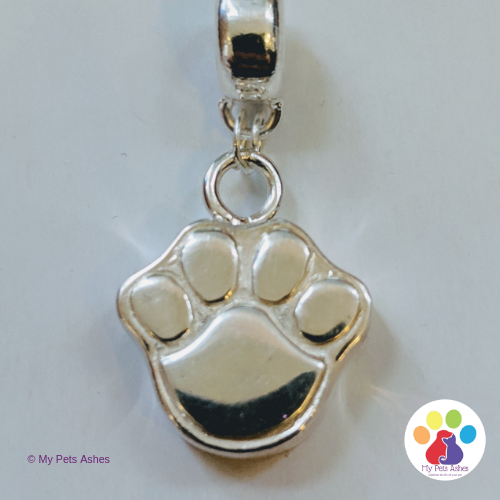 Pandora Paw Print Charm - Silver charm for pet ashes