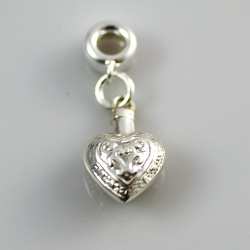 Pandora Heart Charm - Silver Engraved Heart Charm for pet ashes