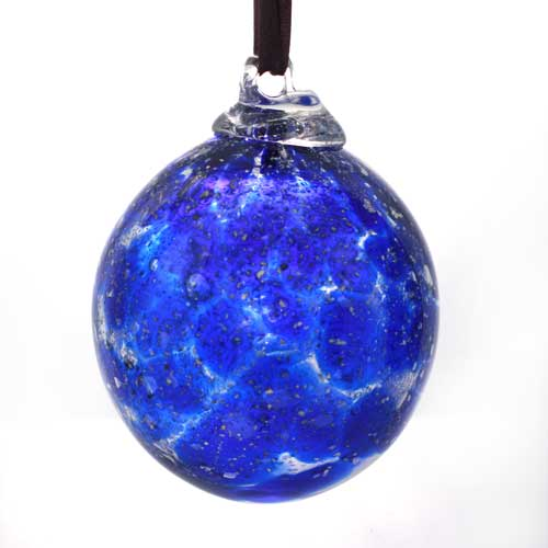 Christmas Bauble in glass - blue