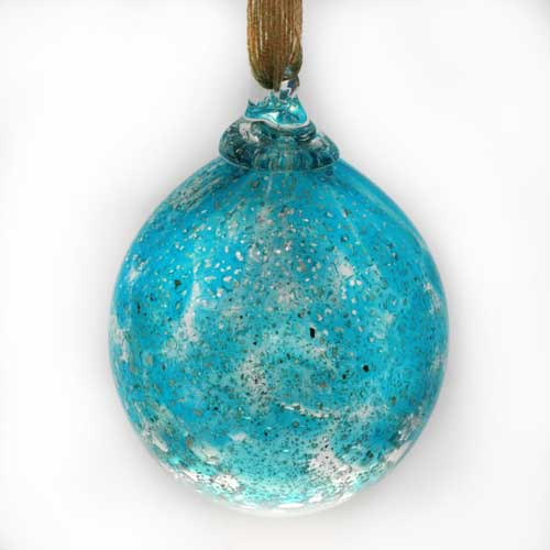 Christmas Bauble in glass - aqua