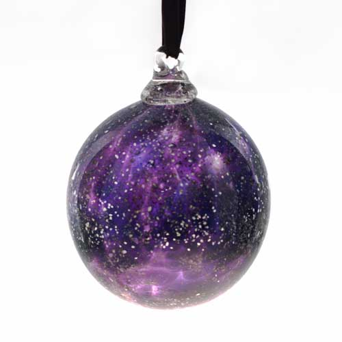 Christmas Bauble in glass - purple