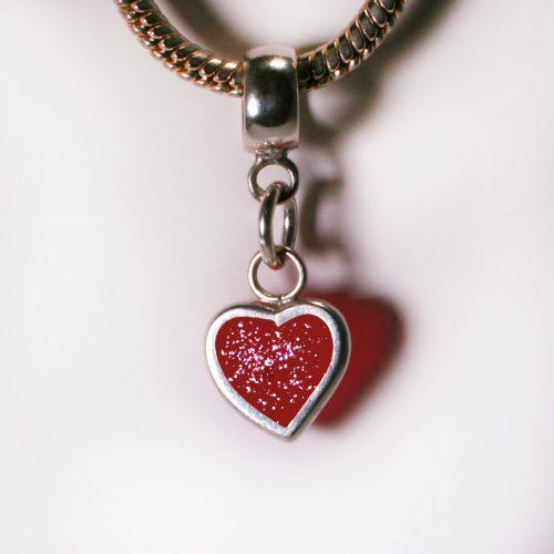 Ashes Jewellery- Heart charm - January Garnet