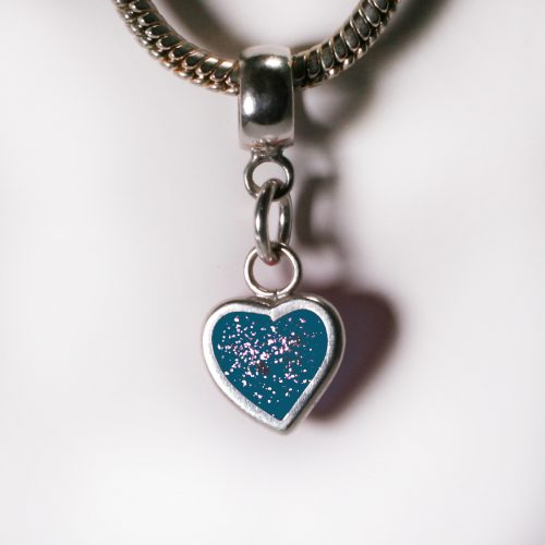 Ashes Jewellery- Heart charm - Dec Turquoise