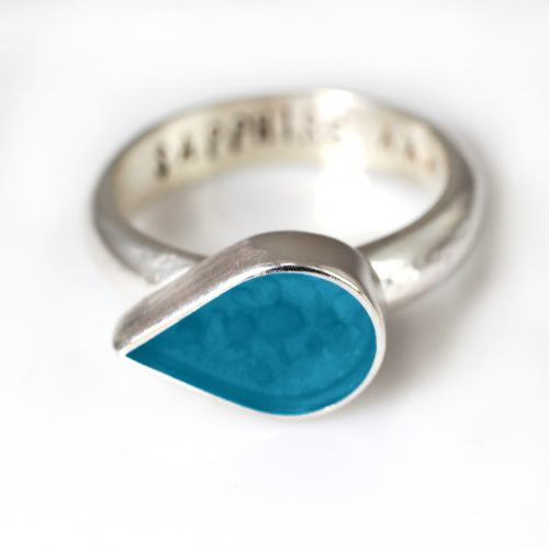 Ashes Jewellery-Teardrop Ring - Dec Turquoise