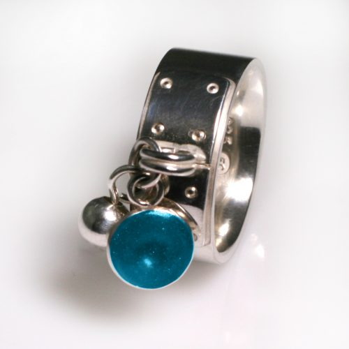 Ashes Jewellery-Tiffany Style Birthstone Ring - Dec Turquoise