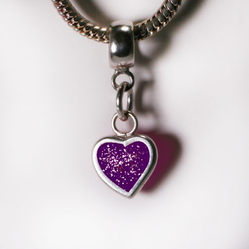Ashes Jewellery- Heart charm - Feb Amethyst