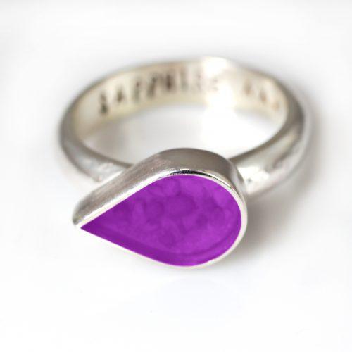 Ashes Jewellery-Teardrop Ring - Feb Amethyst