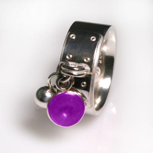 Ashes Jewellery-Tiffany Style Birthstone Ring - Feb Amethyst