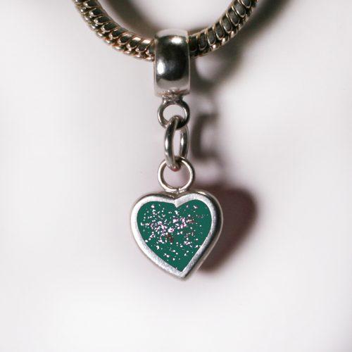 Ashes Jewellery- Heart charm - March Aqua