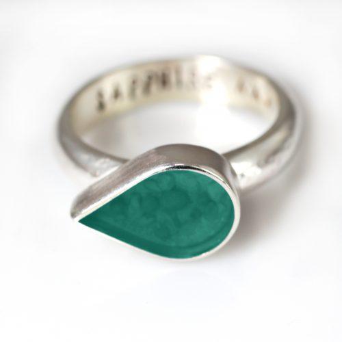 Ashes Jewellery-Teardrop Ring - March Aqua