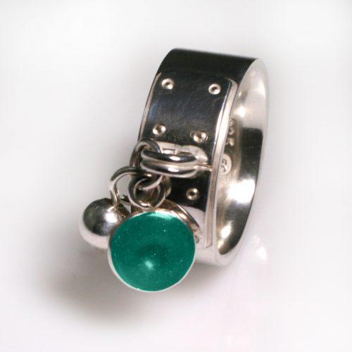 Ashes Jewellery-Tiffany Style Birthstone Ring - March Aqua