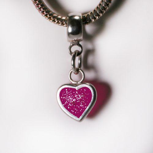 Ashes Jewellery- Heart charm - April Pink Diamond