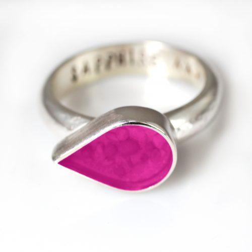 Ashes Jewellery-Teardrop Ring - April Pink Diamond