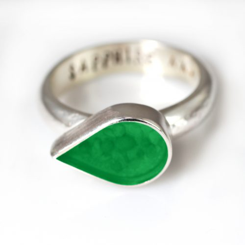 Ashes Jewellery-Teardrop Ring - May Emerald