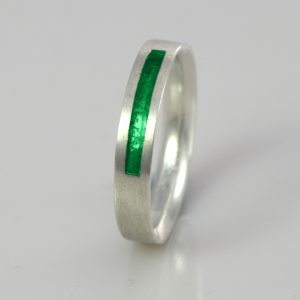 Ashes Jewellery-Wedding band Birthstone Ring - May Emerald