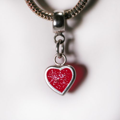 Ashes Jewellery- Heart charm - July Ruby