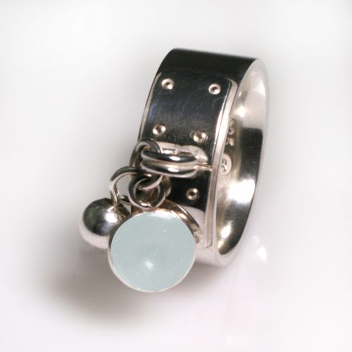 Ashes Jewellery-Tiffany Style Birthstone Ring - June Pearl