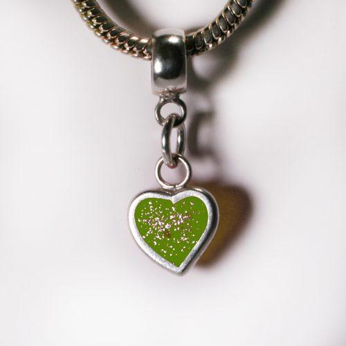 Ashes Jewellery- Heart charm - August Peridot