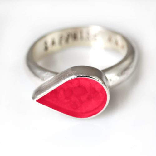 Ashes Jewellery-Teardrop Ring - July Ruby