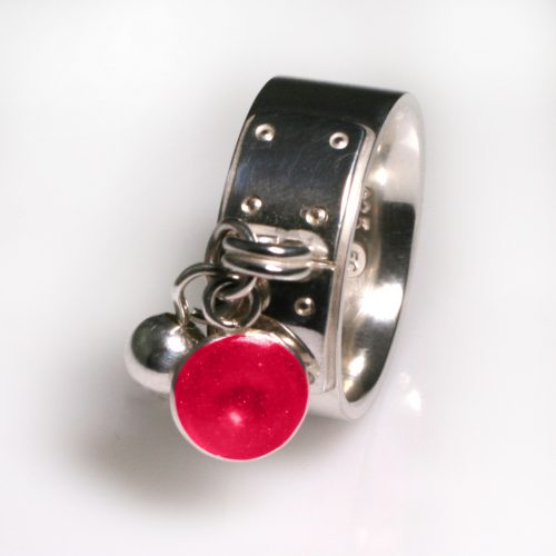 Ashes Jewellery-Tiffany Style Birthstone Ring - July Ruby