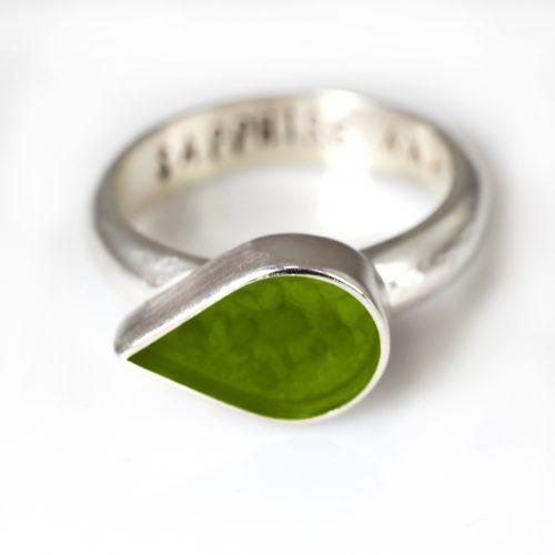 Ashes Jewellery-Teardrop Ring - August Peridot